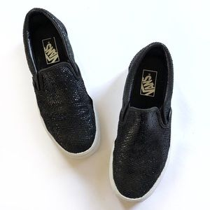Vans leather slip on black sparkle unisex shoes